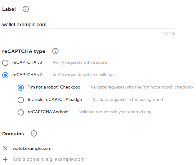 Register new site Google reCAPTCHA example form